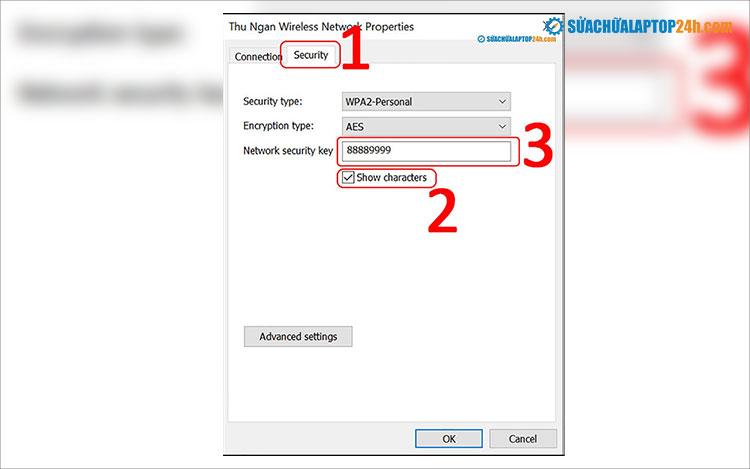 Mật khẩu được hiển thị ở mục Security