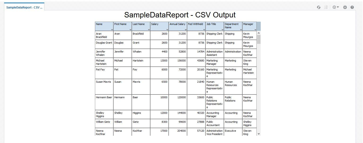 Creating Comma Separated Value Report Using BI Publisher in
