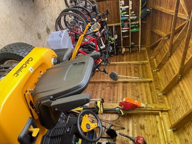 Judith Keeling uses her Garage to store all of her expensive equipment for the garden and her families bikes