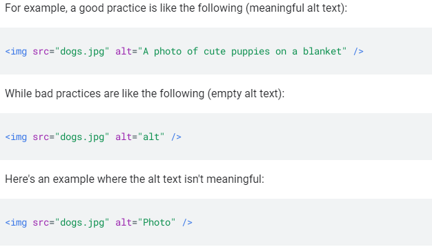 An image showing  what meaningful Alt attributes for images look like.-Google's mobile First-Indexing