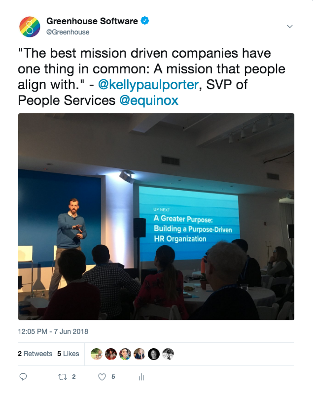 Tweet from Greenhouse Software mentioning the importance of a mission that people align with