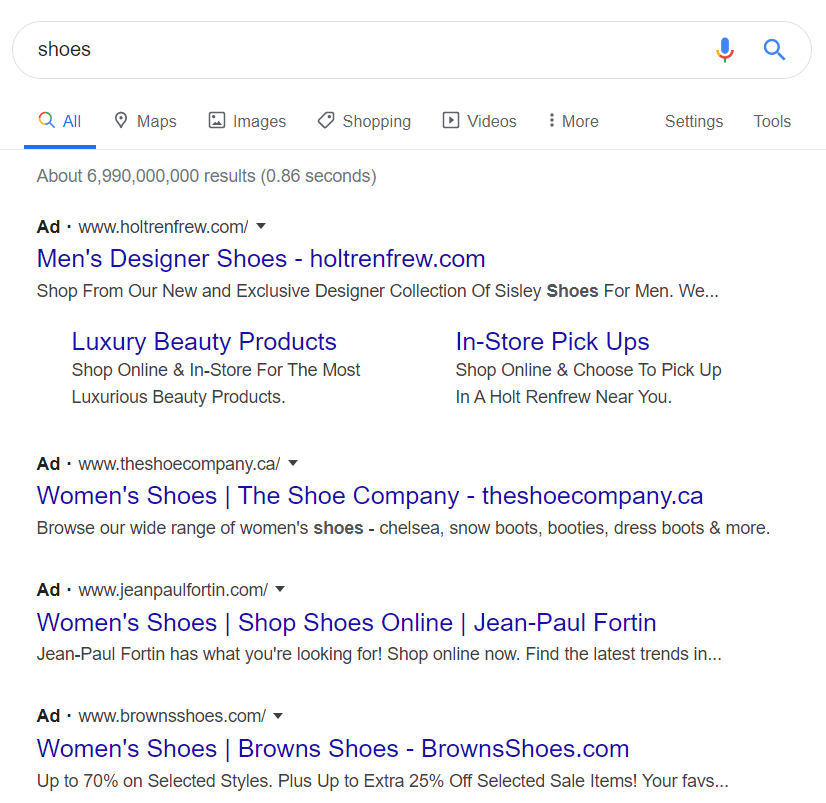 "Short-tail keyword search for ""shoes"""