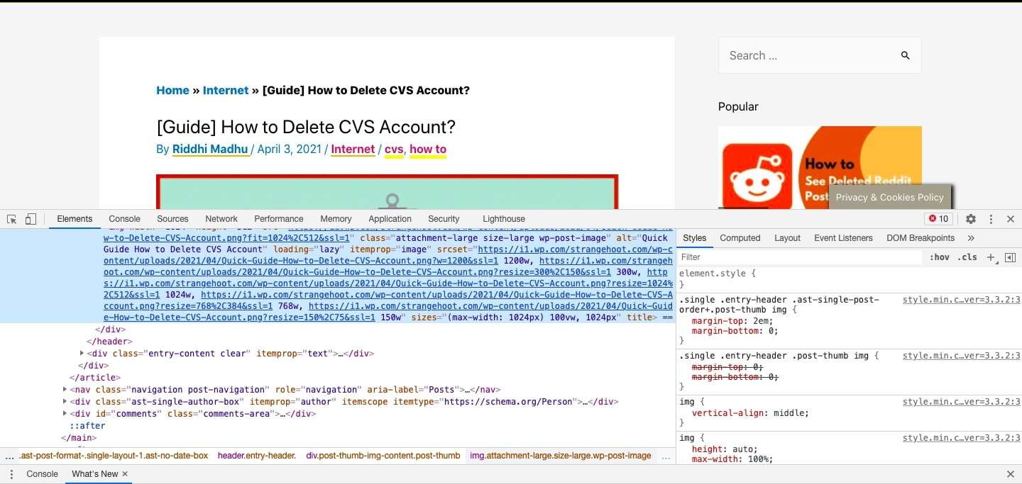 select the HTML code for the element