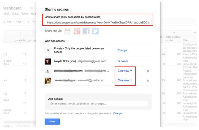 Chia sẻ Bảng điều khiển SEO của Google Tài liệu