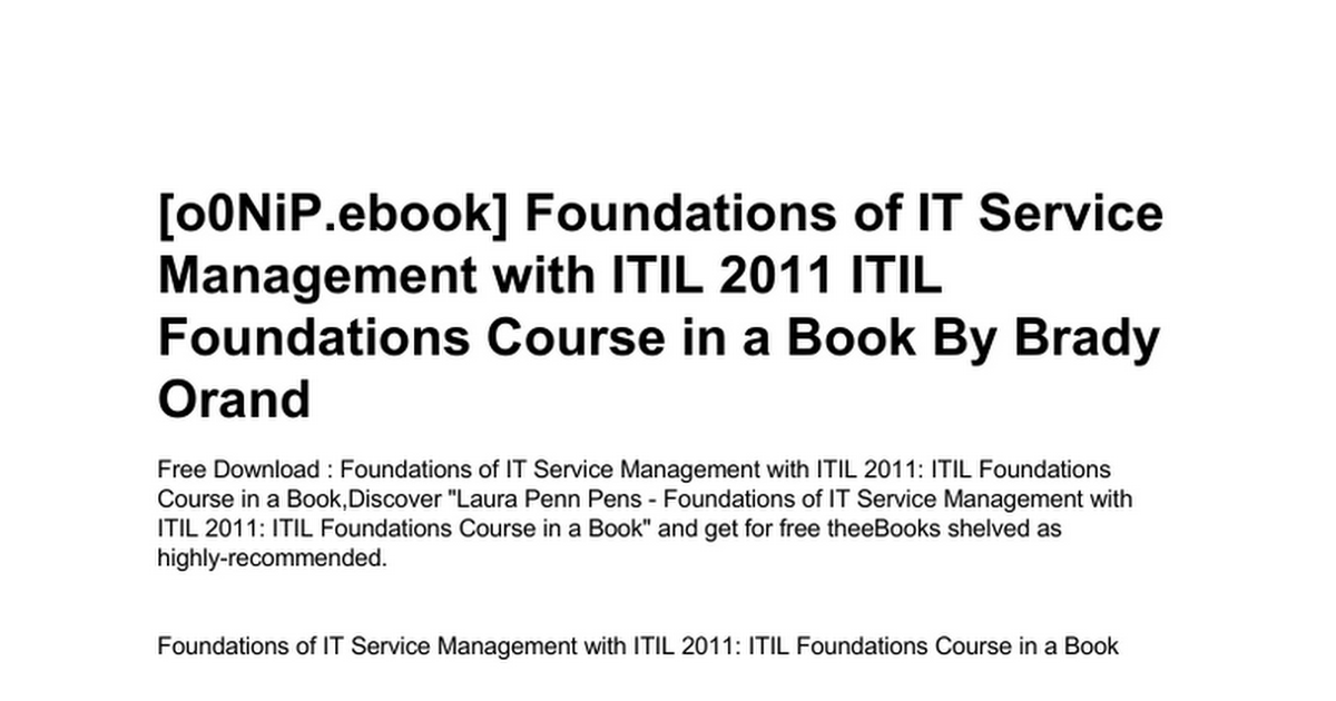 Foundations Of It Service Management With Itil 2011 Itil Foundations
