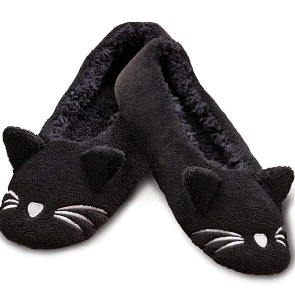 black animal cozy slippers cat ears