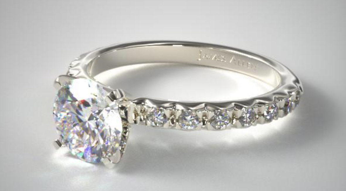 white gold french cut pave diamond ring