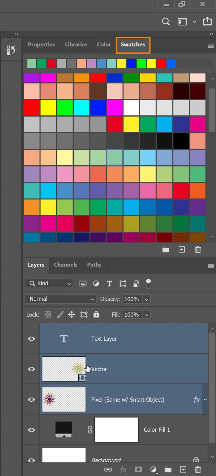 Select a color from the Swatches panel