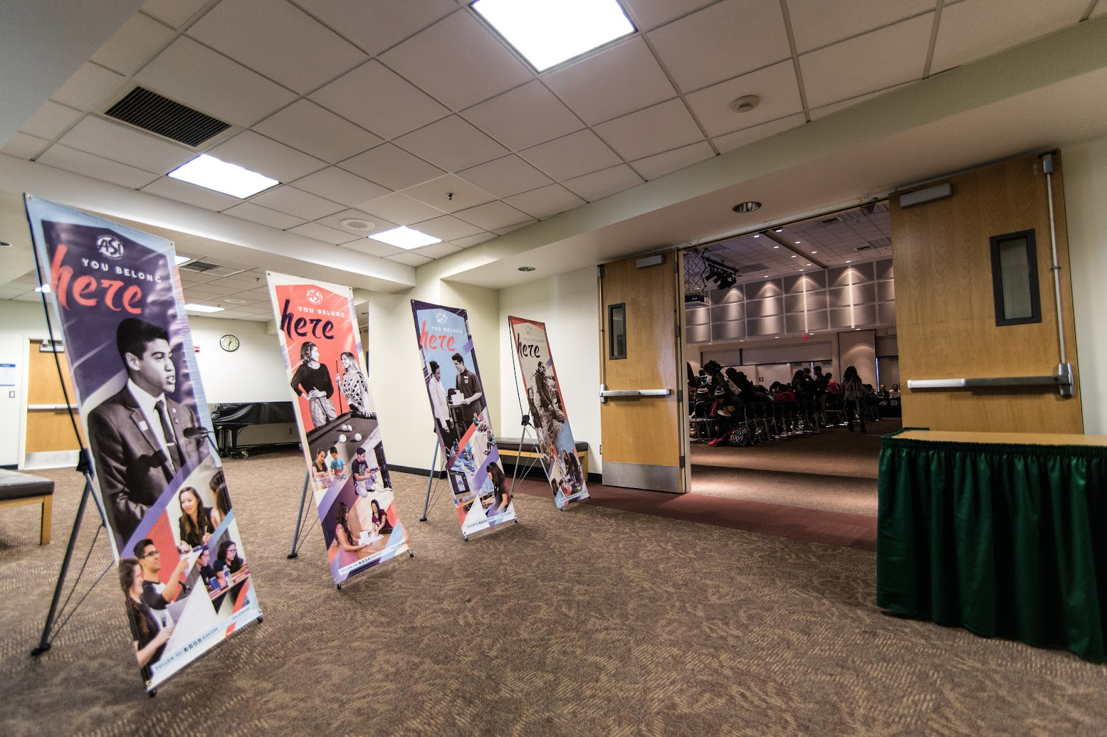 You Belong Here posters lead the way into The Student Experience at the Bronco Student Center, Ursa Major (Bldg. 35-2611)