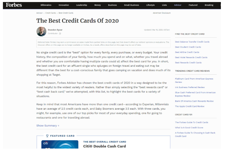 Forbes Best Credit Cards Page