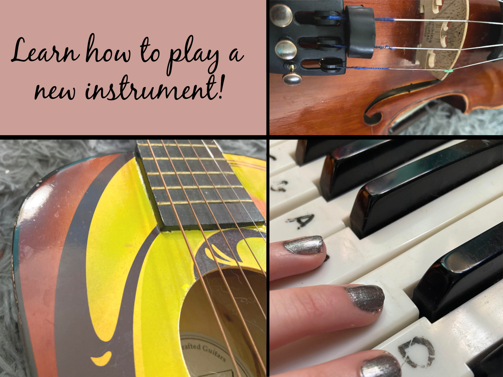Images of instruments to learn during your stay at home time