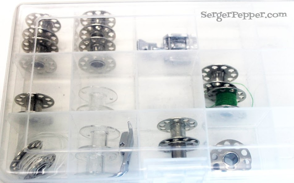 Slizzin' Summer series - Organize Your Sewing Room Low-Budget - Serger Pepper - thread bobbins 1