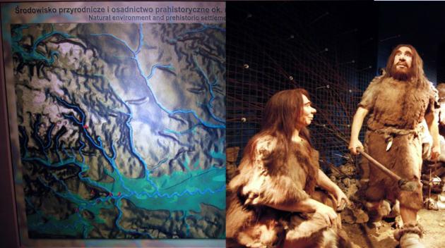 Wyobrażenie Neandertalczyka i mapa śladów bytowania.