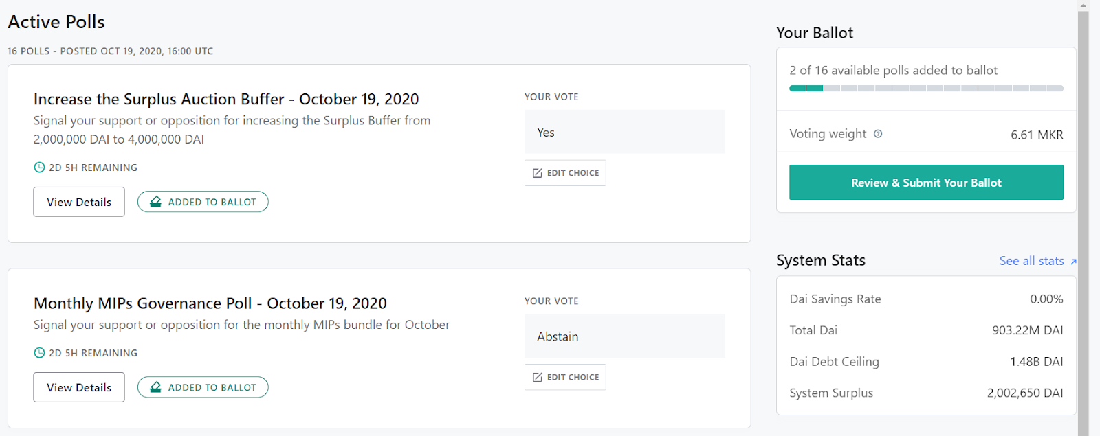 The new Maker Voting Portal now allows voters to Batch Poll votes into one ballot transaction.