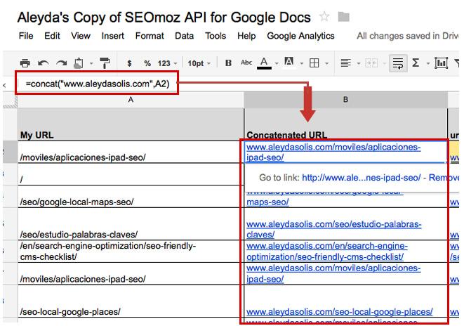 Concat SEOmoz API Google Documents