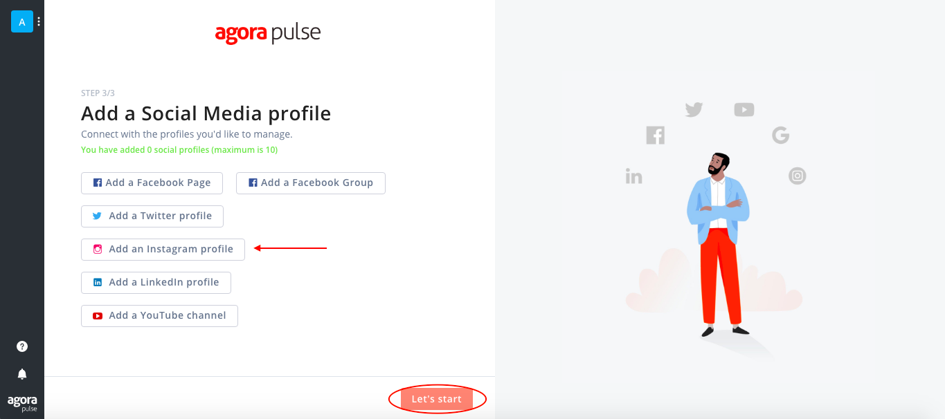 Agorapulse connect to Instagram