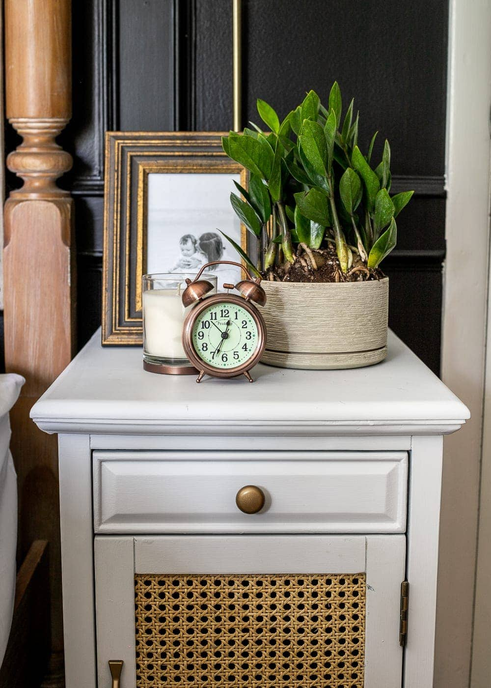 nightstand decor: A Desktop Plaque and A Small Clock
