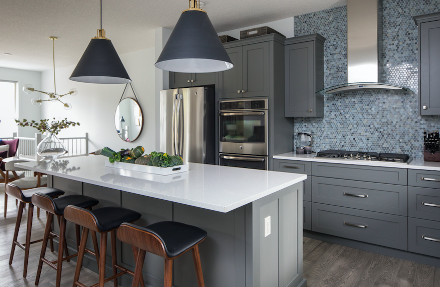 after, kitchen reveal, counter to ceiling backsplash, incredible pendant lights, countertop seating, modern contemporary