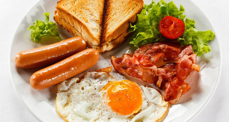 Image result for Bacon,eggs,sausages & Toast. With a hot chocolate or tea!