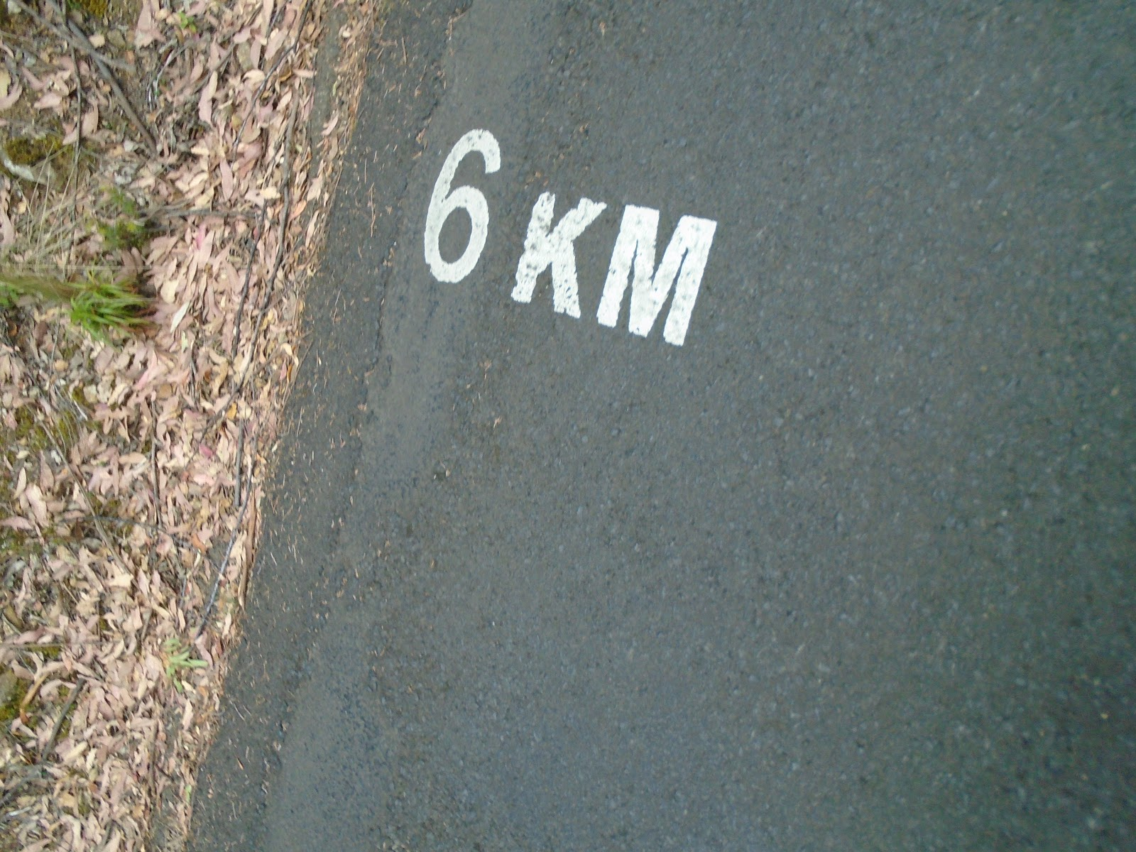 Bicycle ride of Mt. Wellington - km marker painted on road
