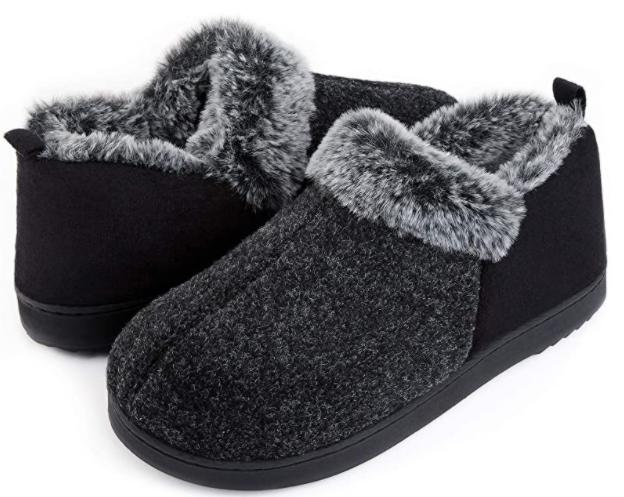 memory foam slippers with plush inside