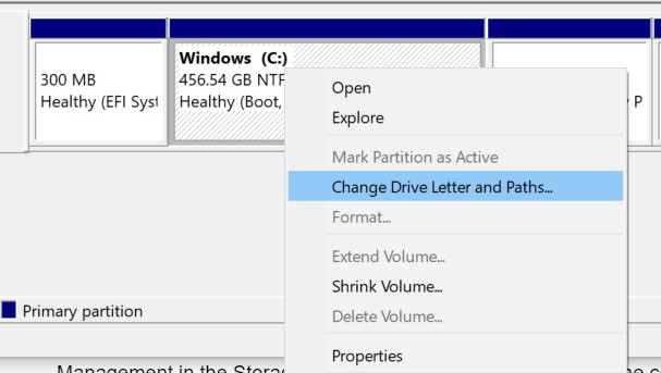 Right-click on it and select Change Drive Letter and Paths