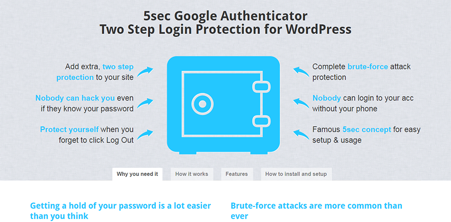 5 seconds Google Authenticator for WordPress Login protection two steps