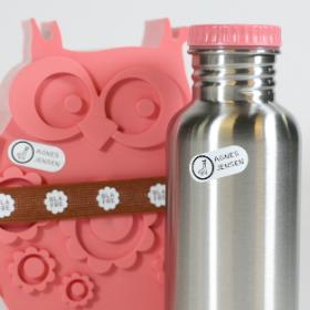 Strykfria namnlappar for märkning matlådor, vattenflaskor og skolmaterial