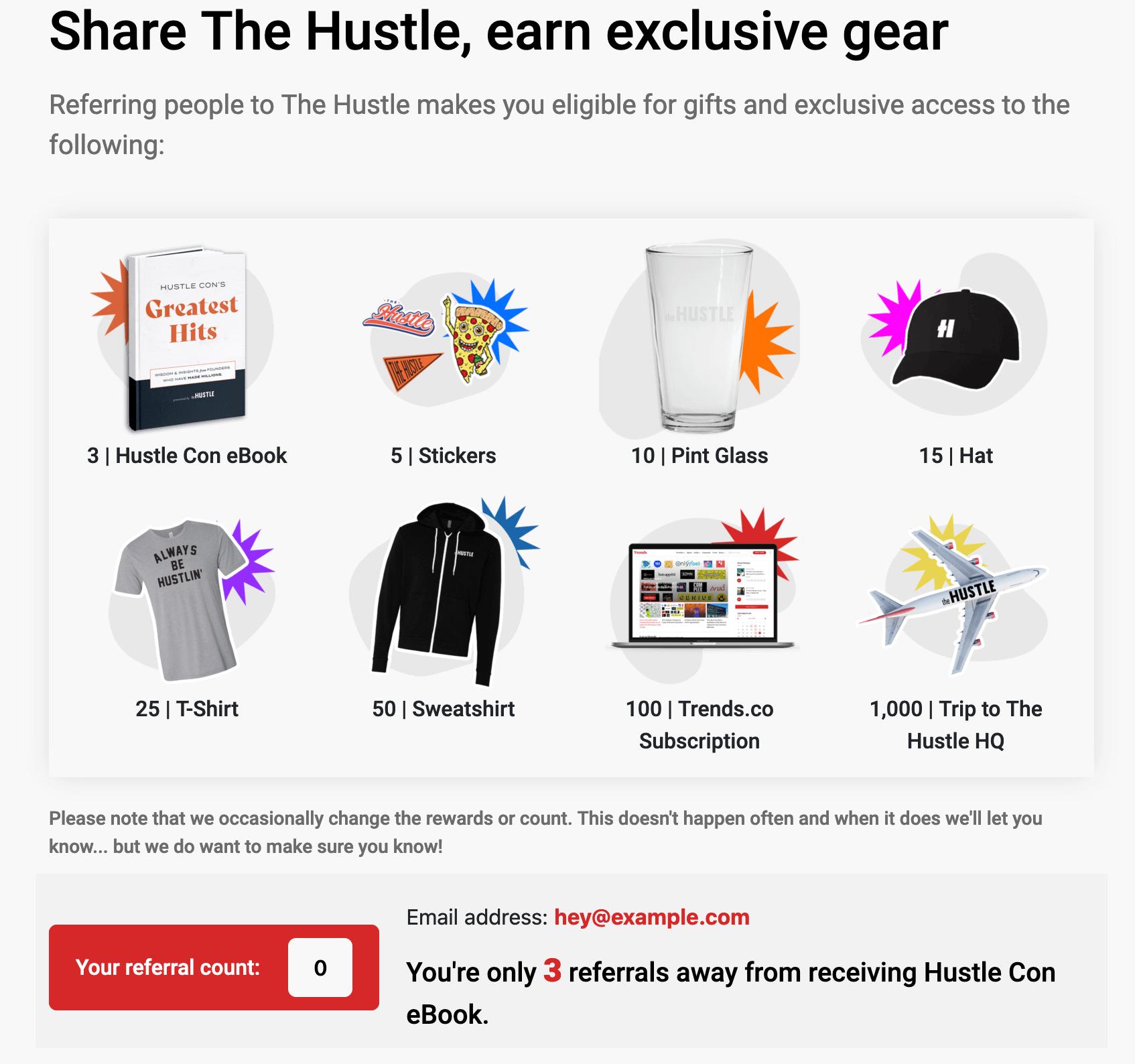 The Hustleのリファーラルプログラムでもらえる特典 画像:The Hustle
