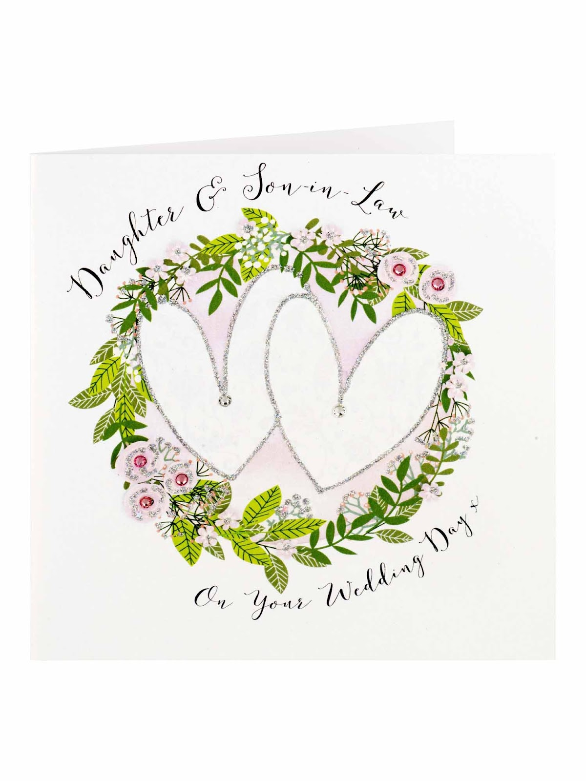 Ways to personalise a wedding gift; Clintons Daughter And Son In Law Hearts Floral Wreath Card