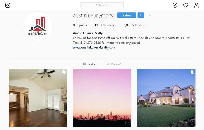 "Instagram Profile of ""Austin Luxury Realty"""