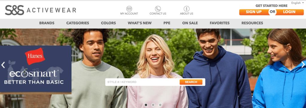 página inicial S&S Activewear, que vende alguns dos produtos mais vendidos da internet