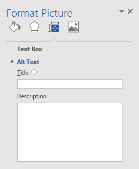 The Format Picture menu in Word has a box for title and a box for description.