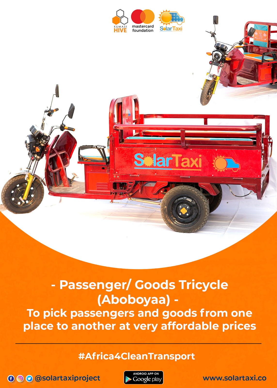 Kumasi Hive and Mastercard Foundation Passenger Tricycle image for SolarTaxi on gharage