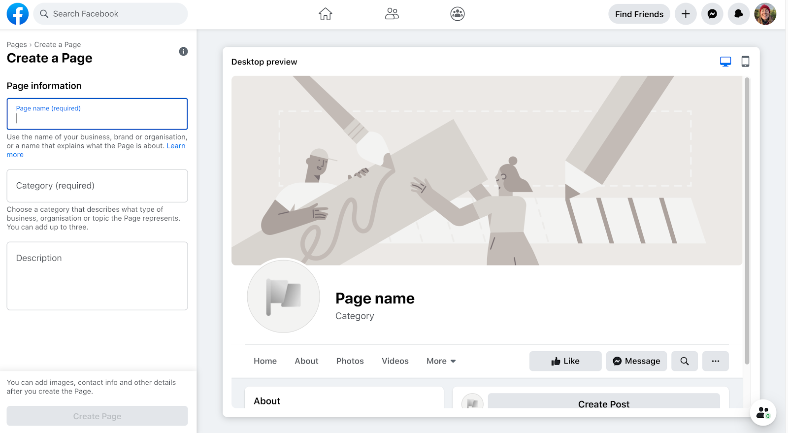 Creating a new page on Facebook