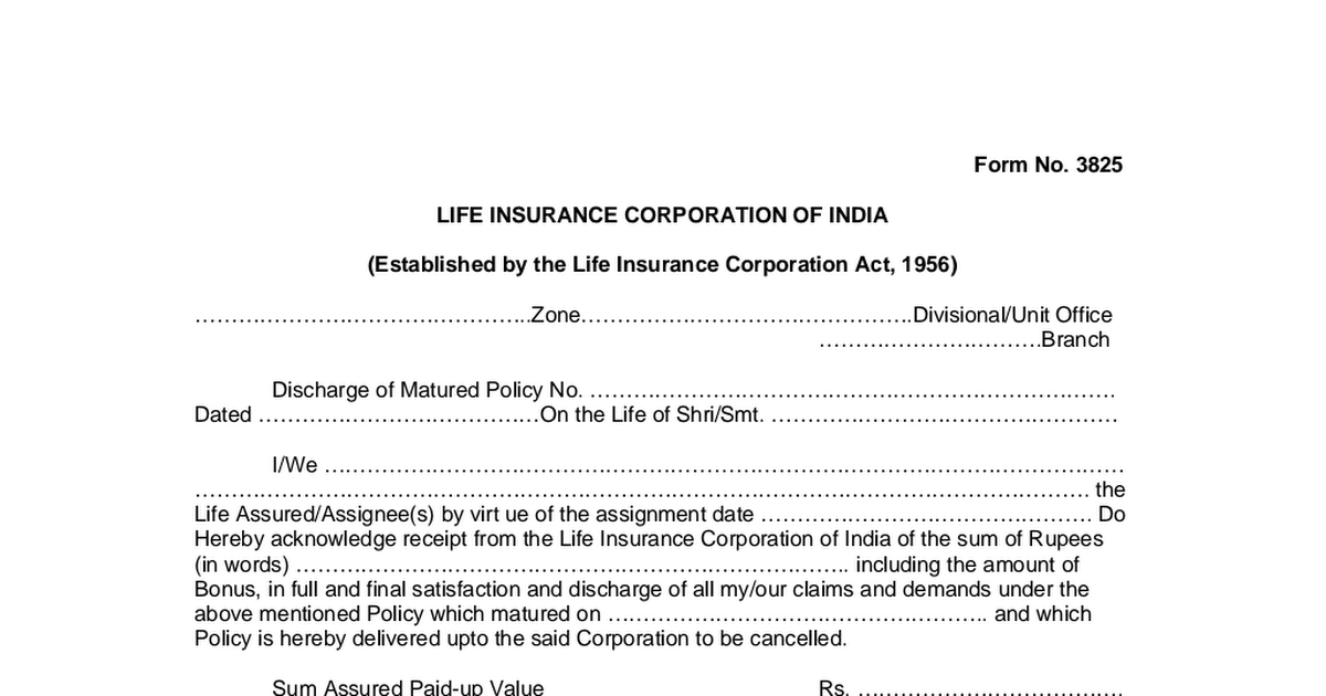 Life insurance corporation of india download forms.