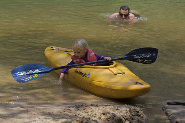 Kayaking: Kids exploring nature
