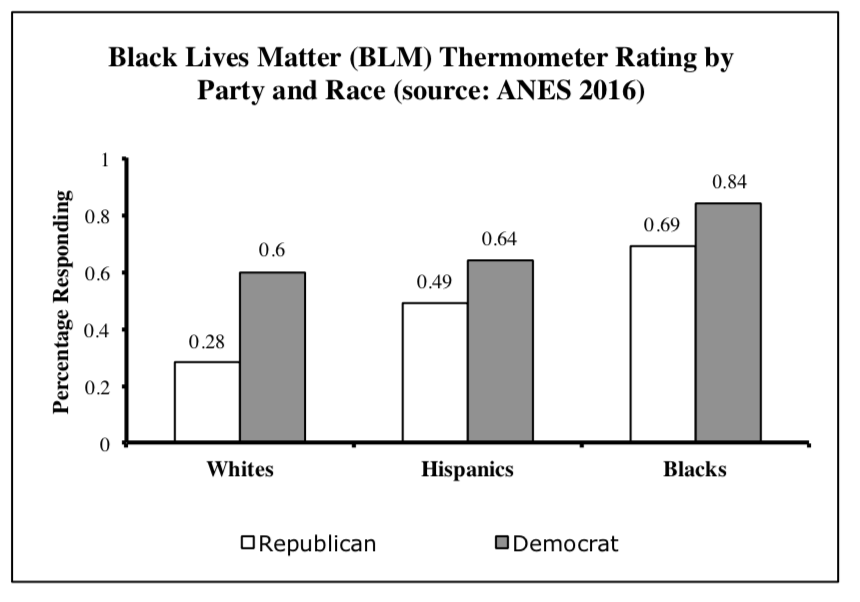 Graphic showing feelings about the Black Lives Matter movement by party and race.