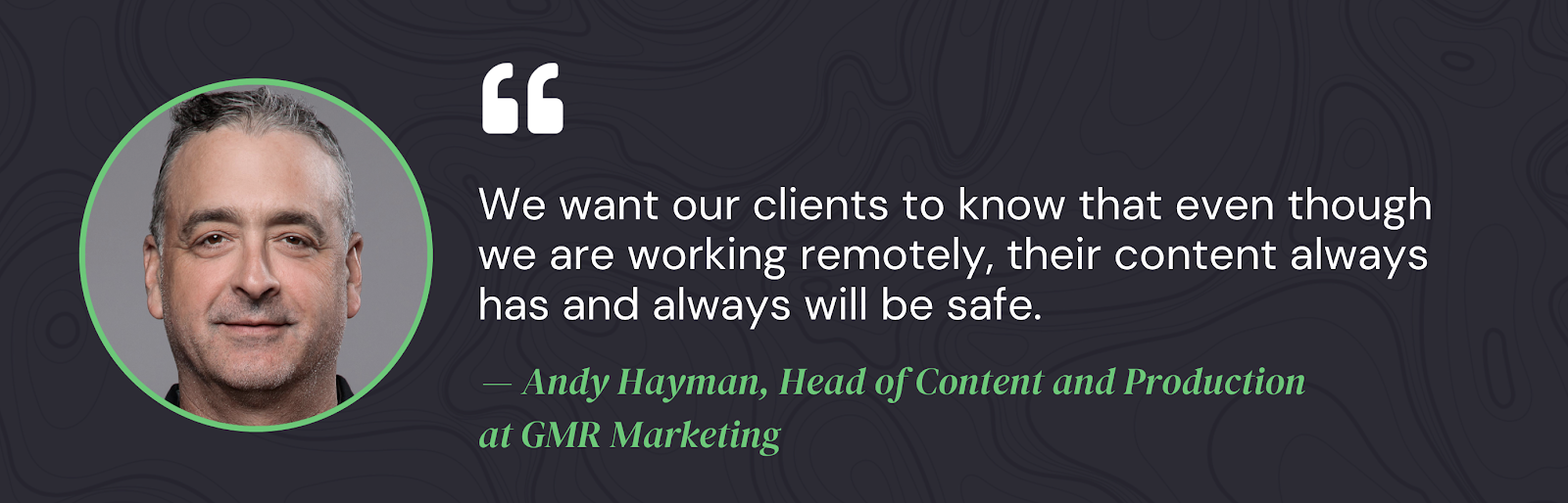 Quote from Andy Hayman GMR Marketing