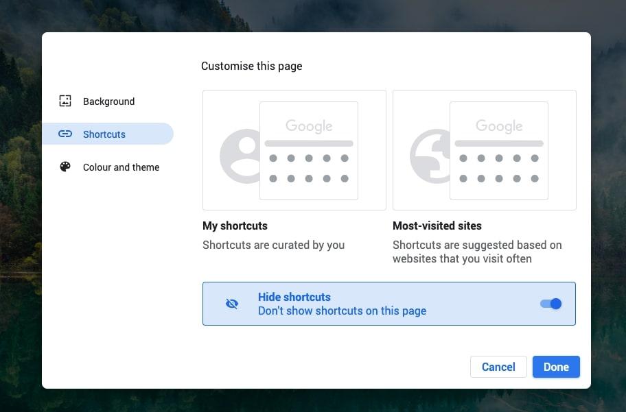 click hide shortcut  to hide icons