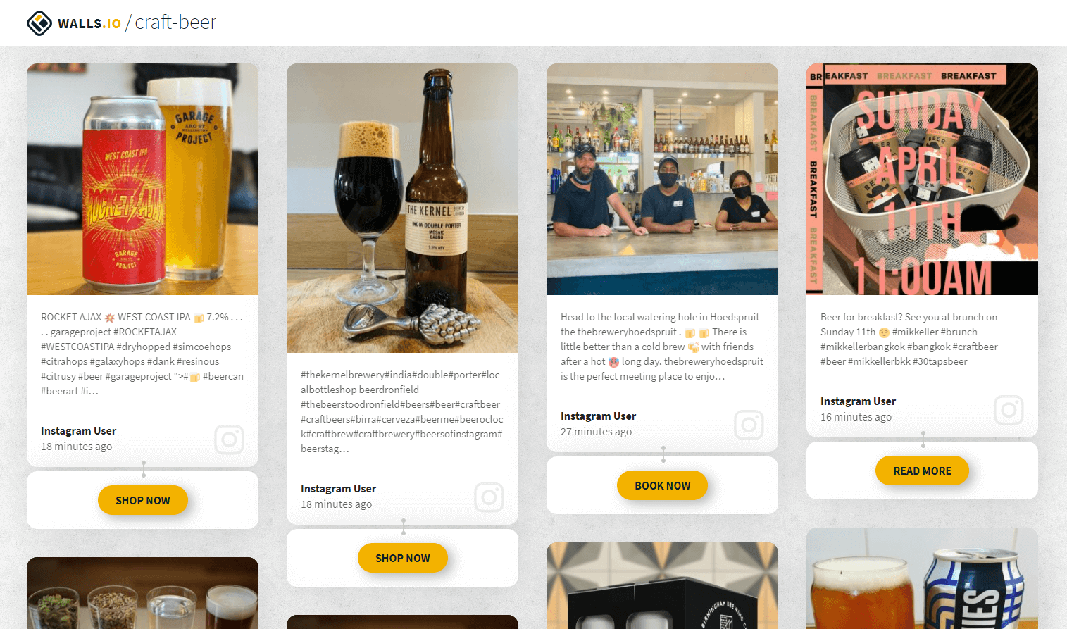 """A social media wall with different posts about craft beer. Two posts show a can and a glass full of beer and a """"Shop now"""" button. Another post promotes a craft beer event with a """"Book now"""" button."""