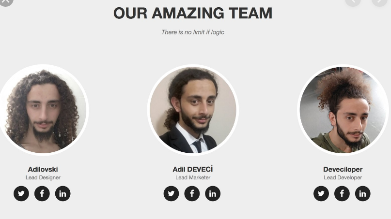 "A team page called ""our amazing team"" shows 3 pictures of the same person as 3 different team members"