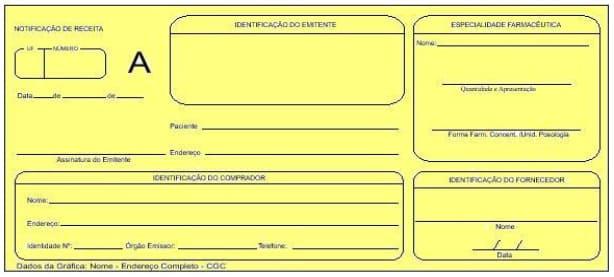 notificação de receita amarela de controle especial