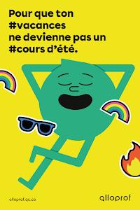 Affiche Alloprof #Vacances - Pour les élèves du secondaire - Maximum 1 affiche par classe et 40 par commande