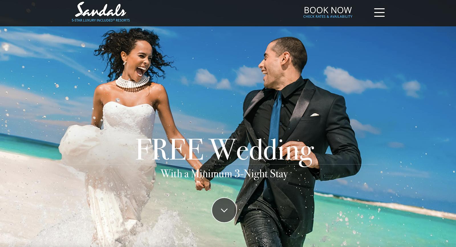 Sandals free wedding homepage