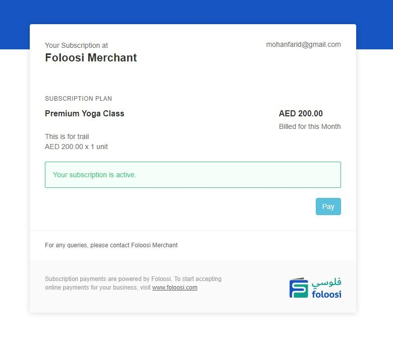 UAE Recurring Payments - Foloosi Subscription