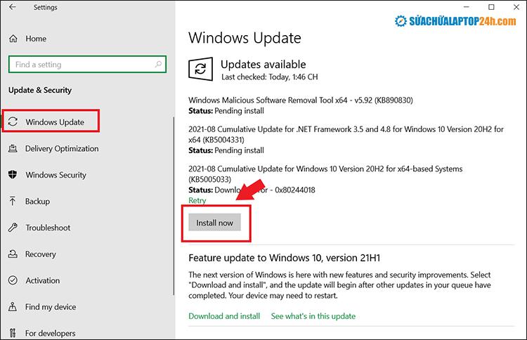 Click Install Now để cập nhật phiên bản mới nhất cho hệ thống