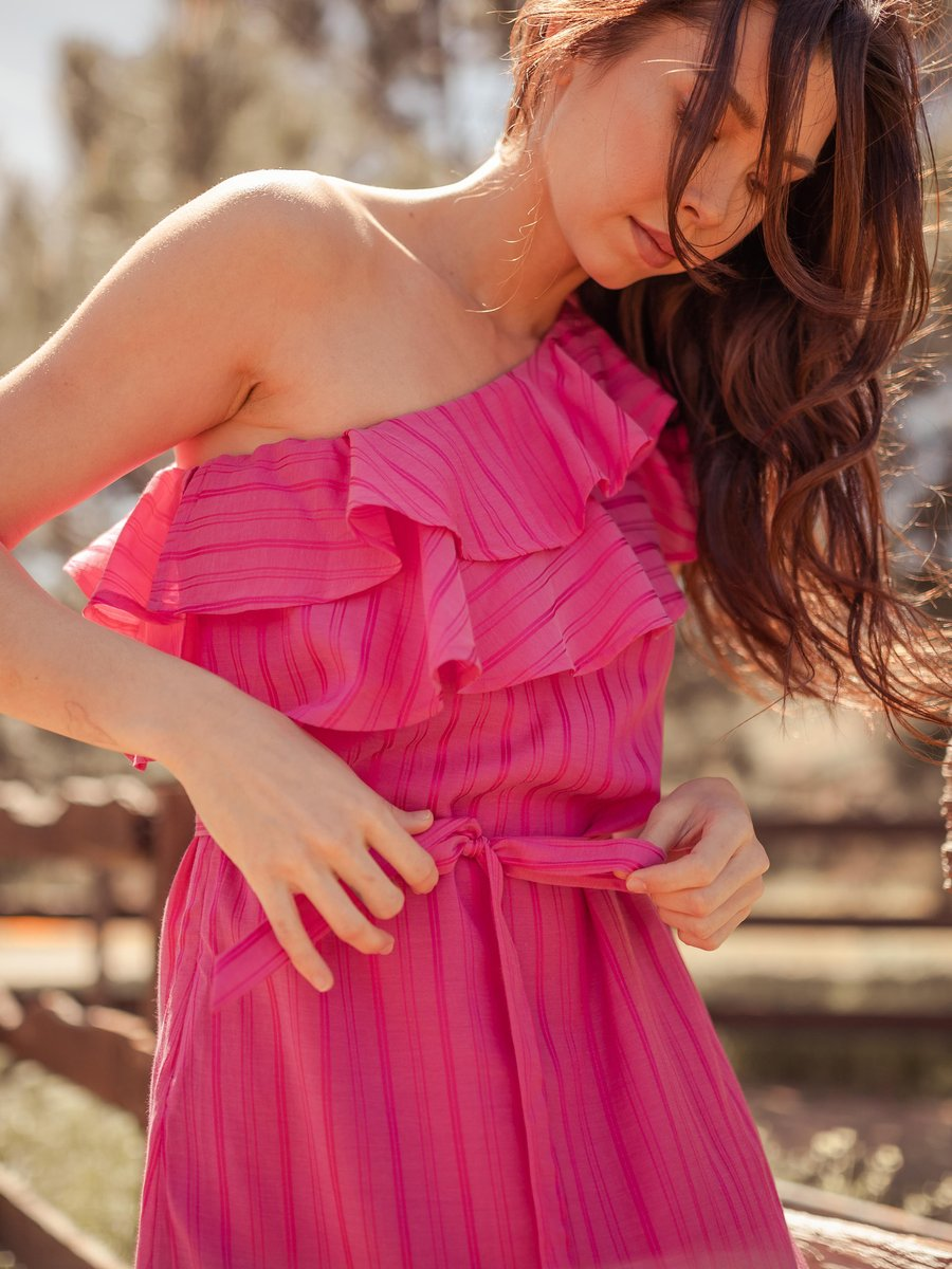 Pink one-shoulder dress made from vegan fabric