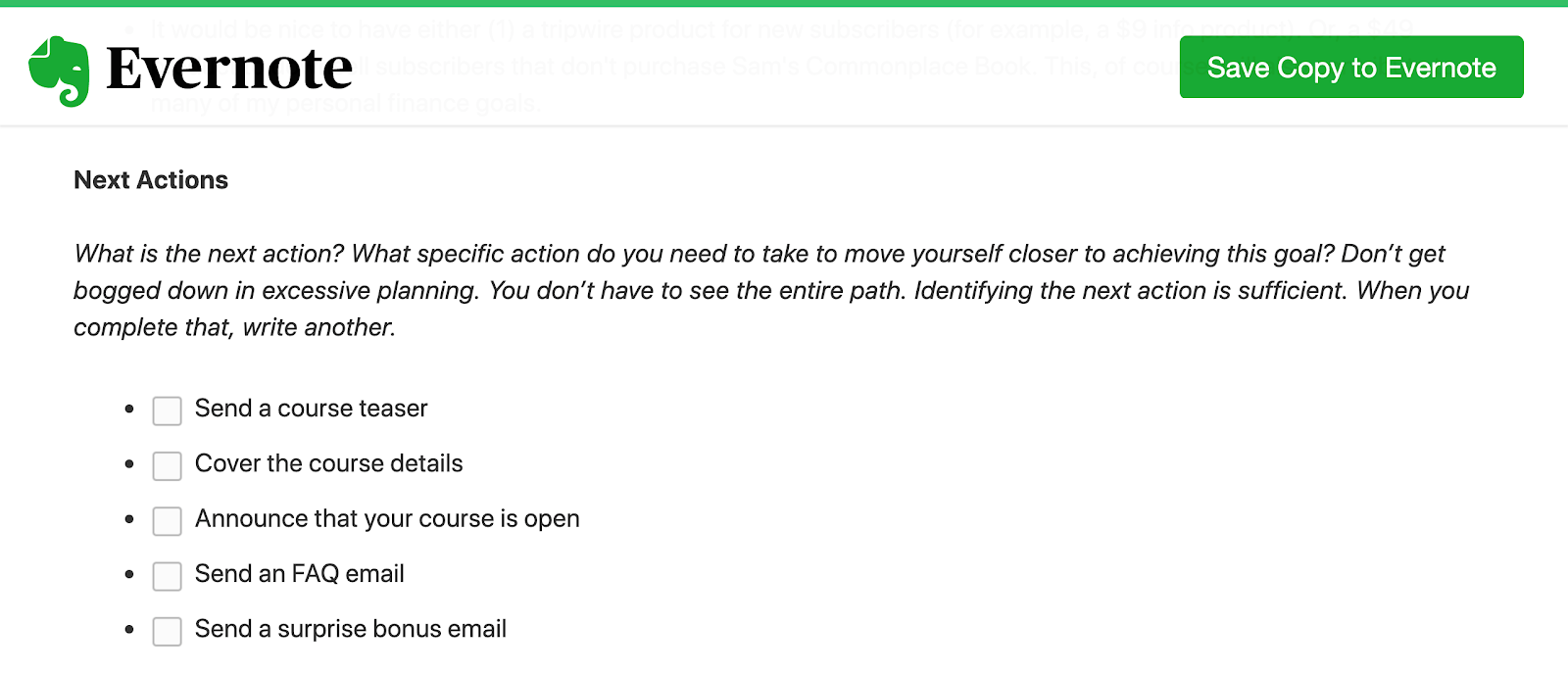 Evernote GTD Next Actions