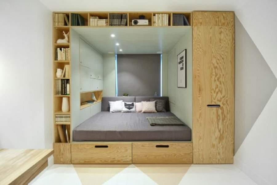 Giường đa năng thông minh kết hợp tủ kệ